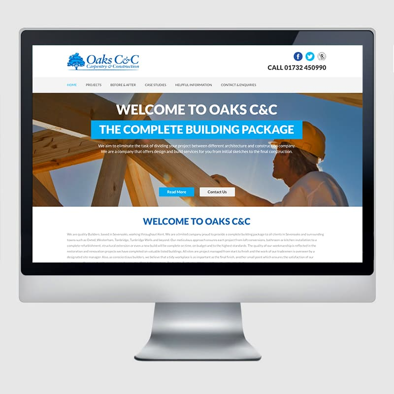 Oaks C&C Web Design Agency Screenshot 2 - Design Agency Kent - Web Design