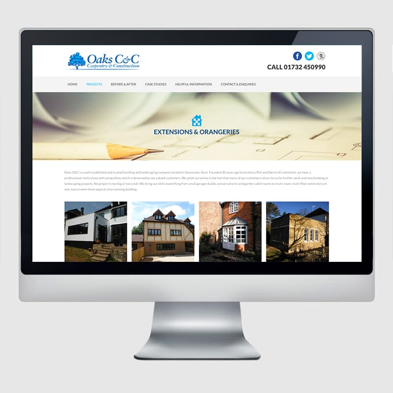 Oaks C&C Web Design Agency Screenshot 1 - Design Agency Kent - Web Design
